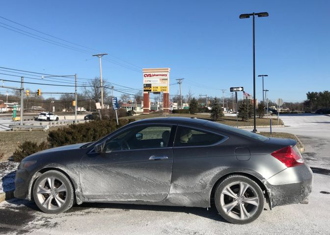 2012 Honda Accord coupe, covered in salt.