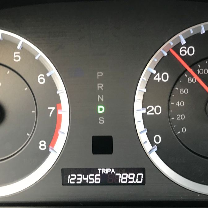 Car odometer reading 123456 TRIP A 789.0