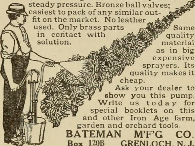 Ad for Bateman Manufacturing Company. The add, with partial text, shows a man using a spayer on a row of crops.