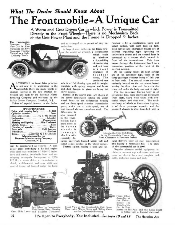 PDF of ad for Frontmobile. Has photograph of Frontmobile Roadster, Roadster chassis with engine and wheels, close-up of front suspension, engine, and transmission. Text reads: WHAT THE DEALER SHOULD KNOW ABOUT THE FRONTMOBILE A UNIQUE CAR A WORM AND GEAR DRIVEN CAR IN WHICH POWER IS TRANSMITTED DIRECTLY TO THE FRONT WHEELS - THERE IS NO MECHANISM BACK OF THE UNIT POWER PLANT AND THE FRAME IS DROPPED 9 INCHES.
