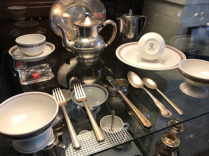 Flatware, bowls, tea and coffee pots, and an ashtray from the Pennsylvania Railroad.