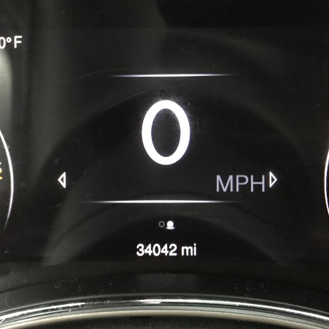 Jeep odometer reading 34042 mi, 0 MPH.