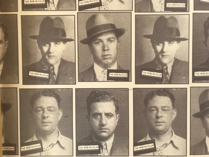 Sepia-toned mugshots of mafia criminals.