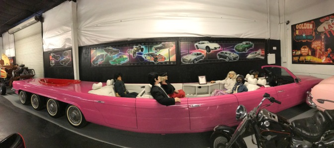 1976 Mercedes stretched limousine, in pink, with hot tub in rear.