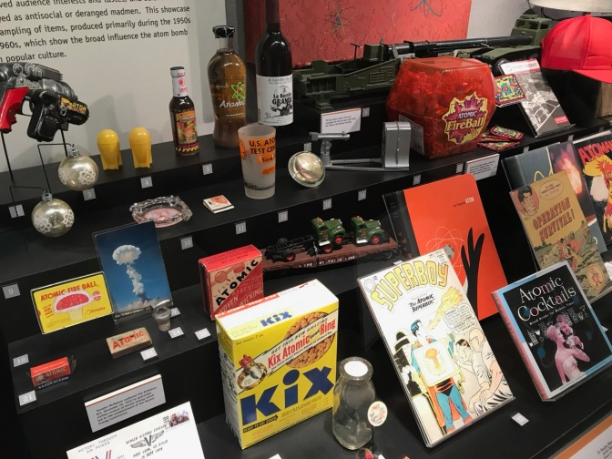 Exhibit on toys, books, and household items from the atomic age.
