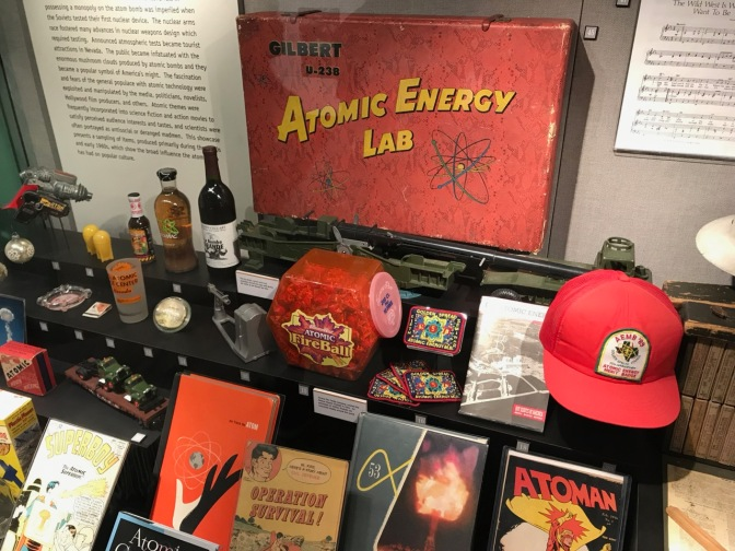 Display including Gilbert U-238 Atomic Energy Lab kit.