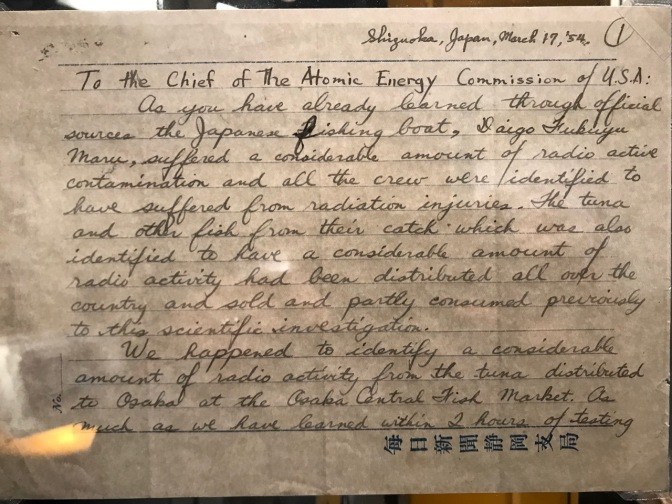 Letter to chief of the Atomic Energy Commission detailing a Japanese tuna boat being radiated by a nuclear test.