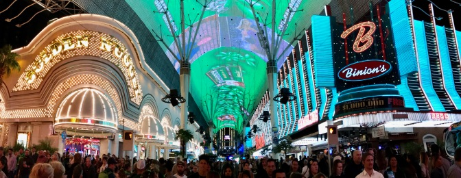 Panorama of Freemont Street.