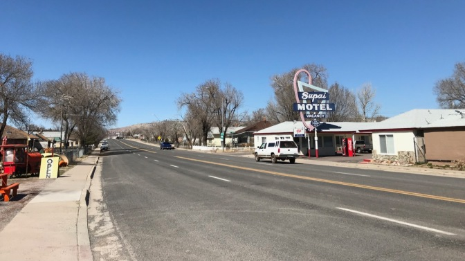 View of Route 66 heading out of town.