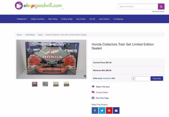 shopgoodwill.com screenshot with a listing for the Honda Collectors Train Set Limited Edition. Photo of train set box, with Current Price $61 and minimum bid $62.
