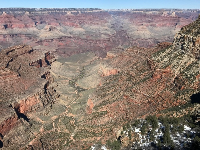 View of Grand Canyon. Snow is on the canyon floor.