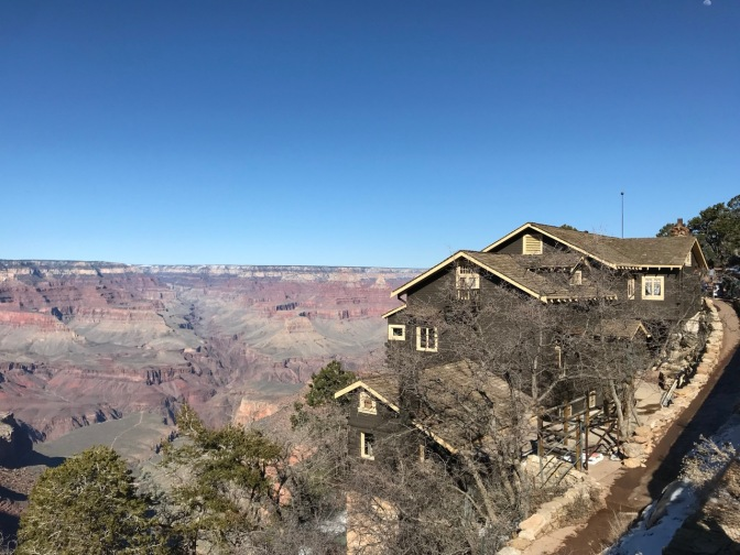 Exterior of Kolb Studio, with the Canyon in the background.