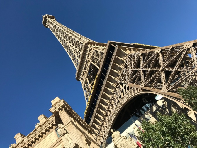 Replica of Eiffel Tower in Paris resort.