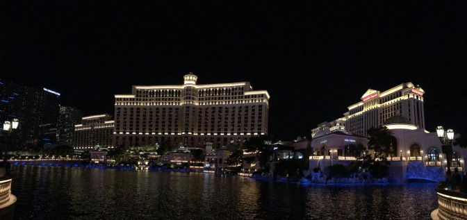 Panorama of Bellagio with Caesar's Palace on the right.