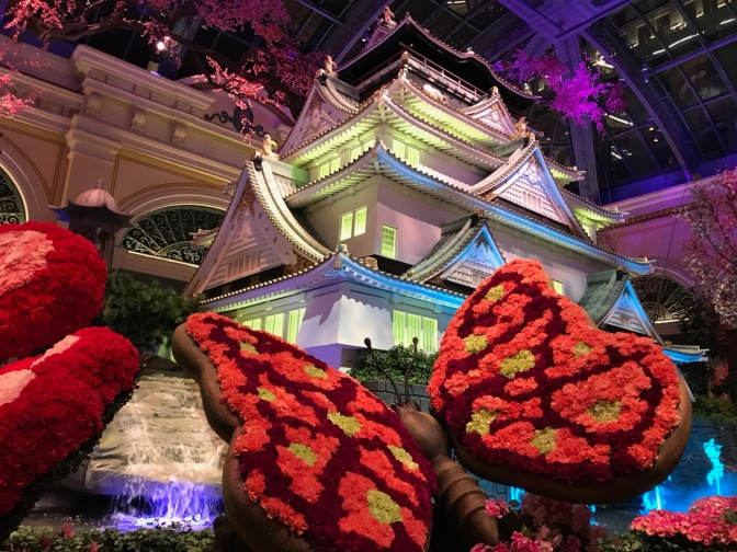 Chinese pagoda in Bellagio Conservatory.