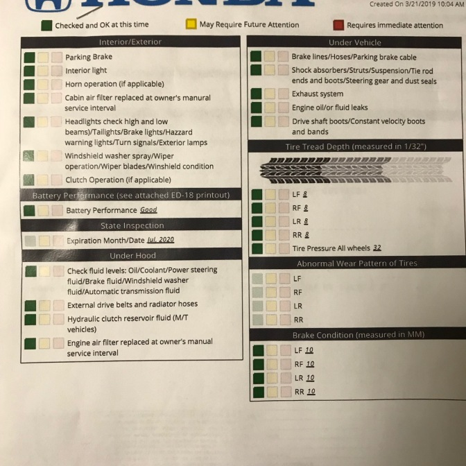 View of Honda multi-point inspection report with green dots for interior/exterior, battery performance, state inspection, under hood, under vehicle, tire tread depth, abnormal wear pattern of tires, and brake condition.