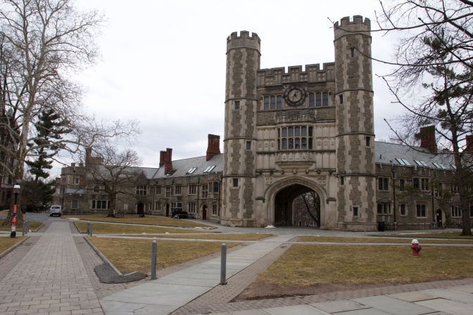 Exterior of Blair Hall, with towers and turrets in the middle of the building.