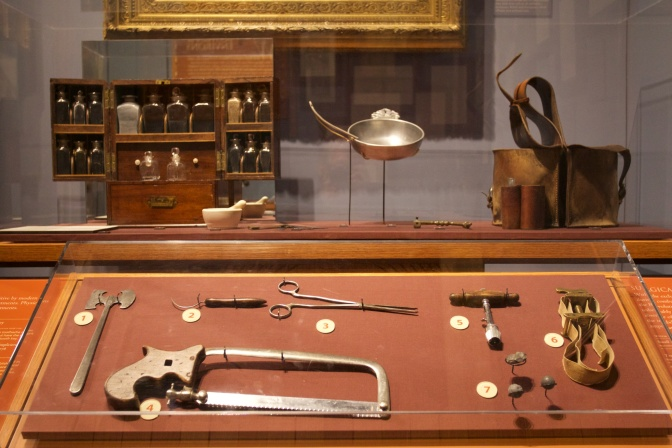 Medical tools and medicines from the 1770s.