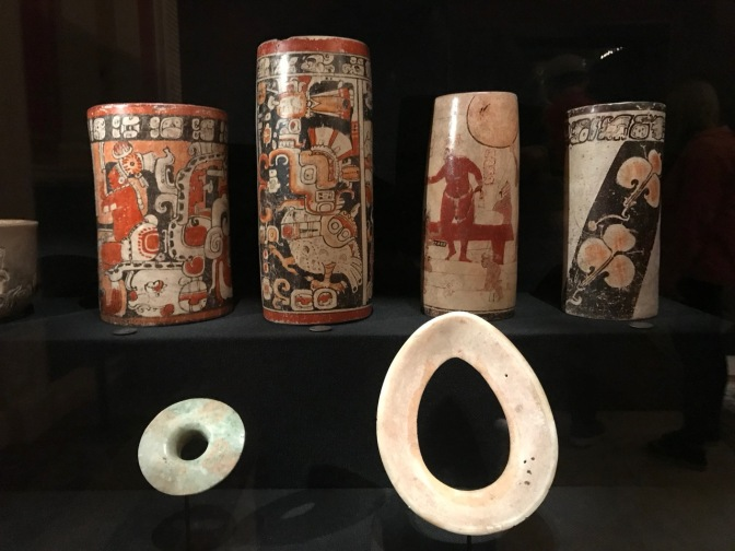 Vases and decorative items from Mesoamerica.