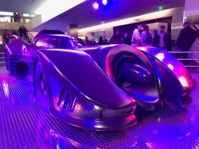 Batmobile from Batman: The Movie, in a display.