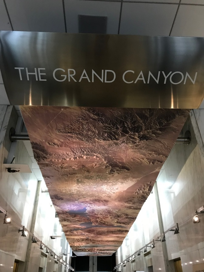 Three-dimensional map of The Grand Canyon and surrounding region.