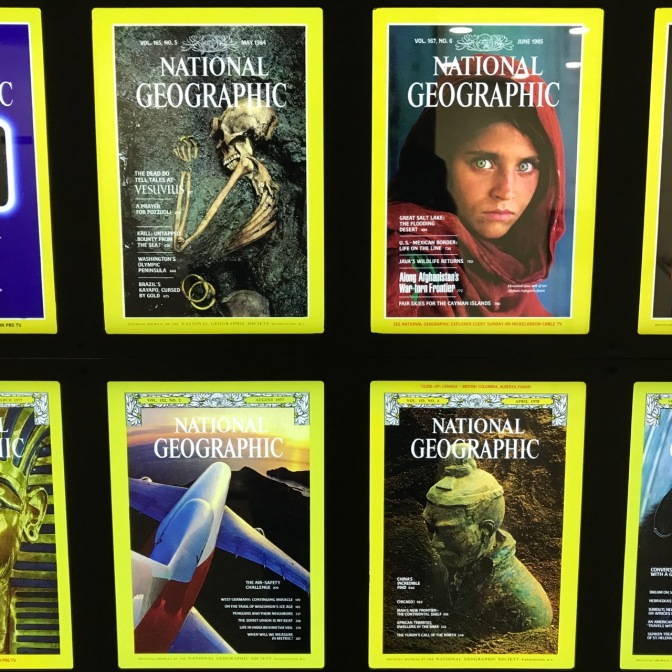 Collection of National Geographic magazine covers.