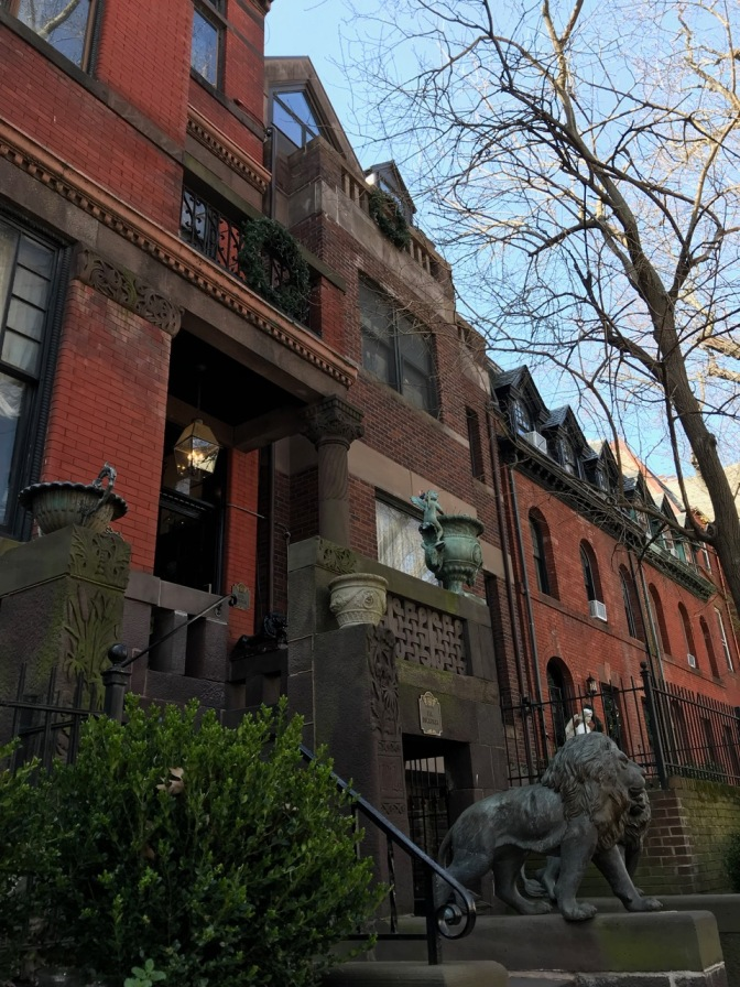Exterior of The Mansion on O Street. Lions flank the entrance of the brick building.