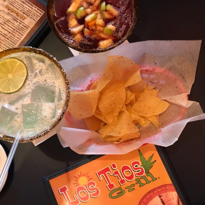 Menu of Los Tips, with sangria, margarita, and chips.