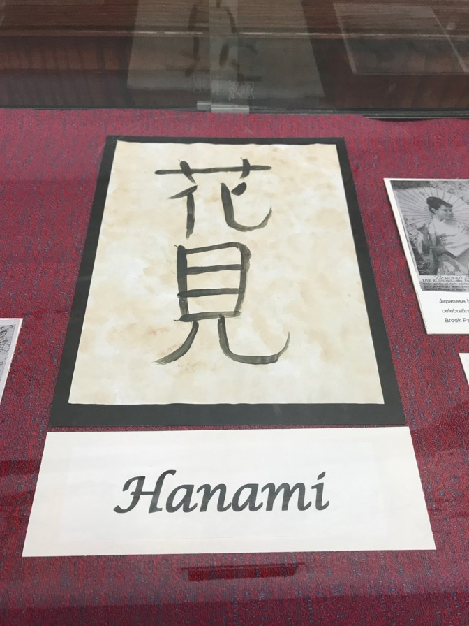 Japanese symbol and English word Hanami, in a glass case.