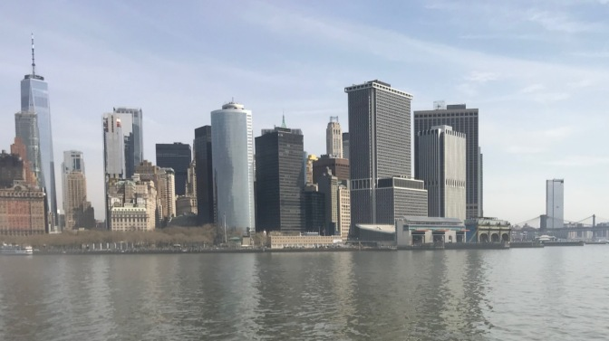 Skyline of Manhattan from beside Battery Park.