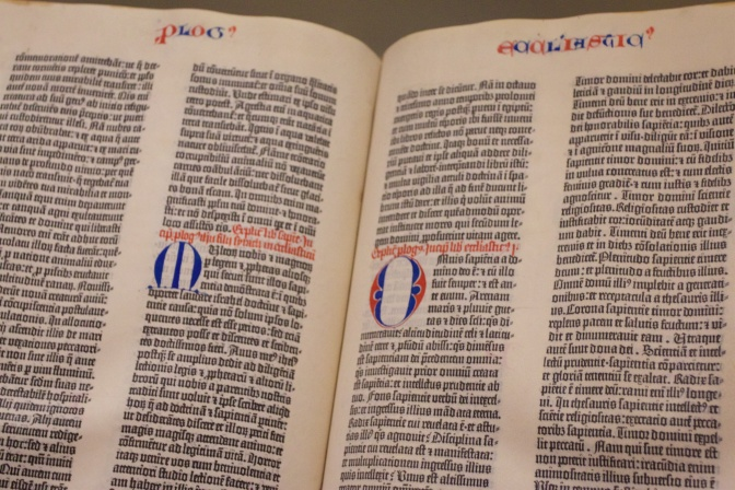 Gutenberg Bible, open to two pages from Ecclesiates.
