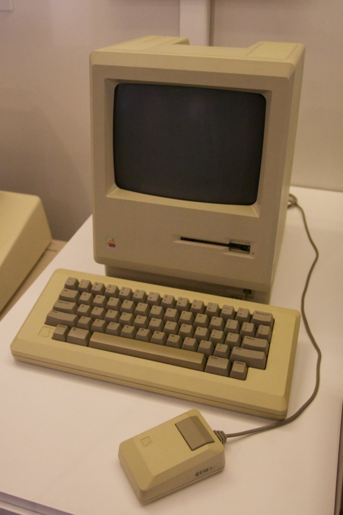 Original Apple Macintosh computer on display.