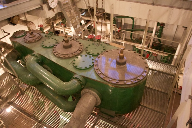 Engine room (including engine) of the buoy tender Oak.