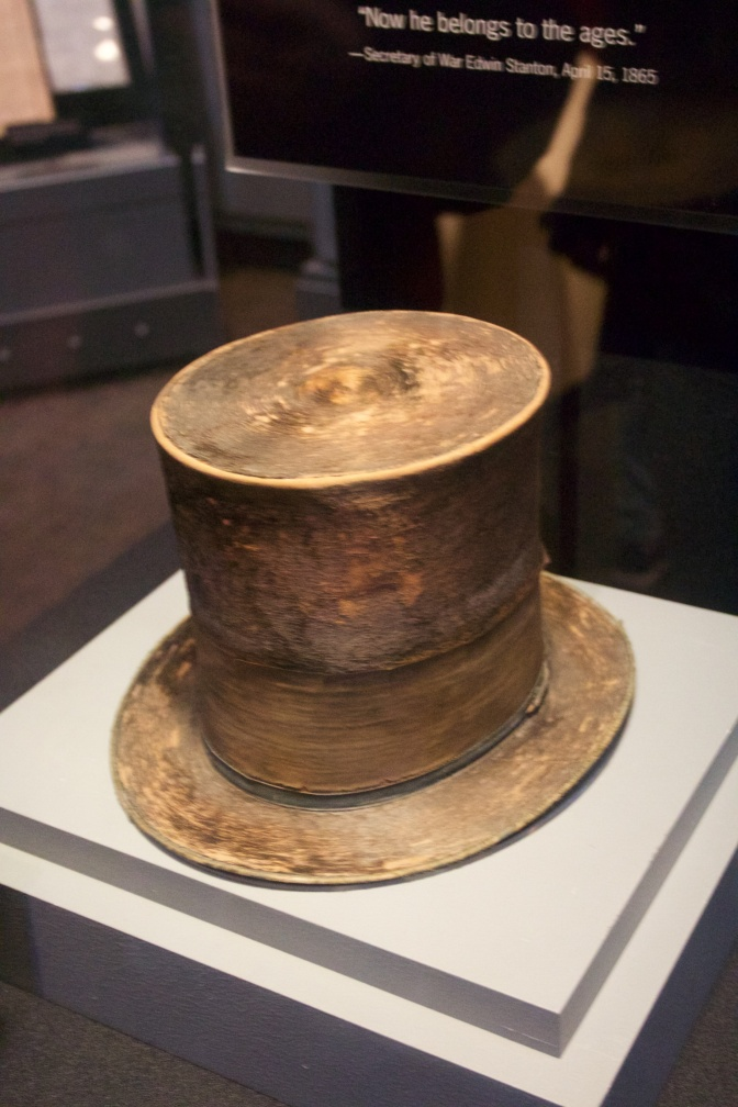 Hat worn by Abraham Lincoln, in a display case.