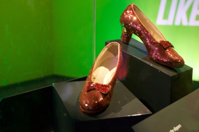 Ruby-red slippers worn by Dorothy in The Wizard of Oz.