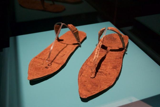 Woven sandals, on a platform.