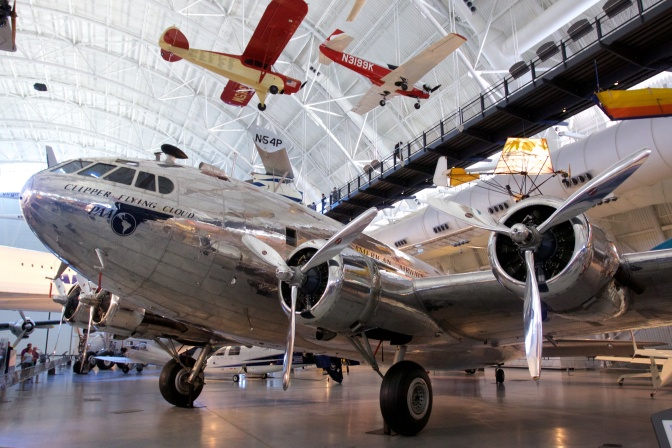 Boeing 307 Stratoliner, covered in silver paneling.