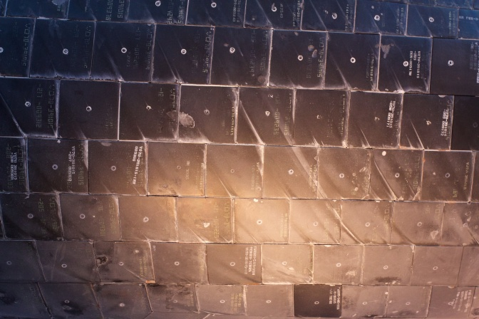 Heat shield tiles, with scorch marks.