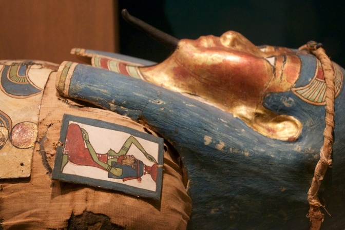 Mummy coffin, in colors like gold, blue, and red.