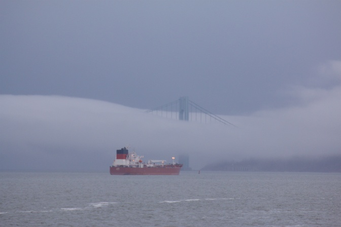 Fog obscures the Verrazano Narrows bridge, with a freighter in the foreground.