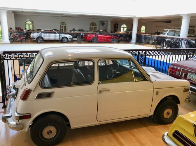 White Honda N600 hatchback.