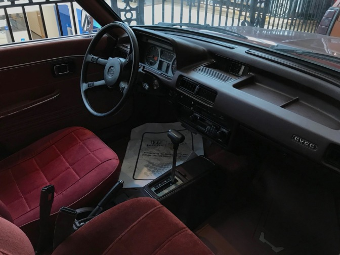 Interior of 1st generation Honda Accord.