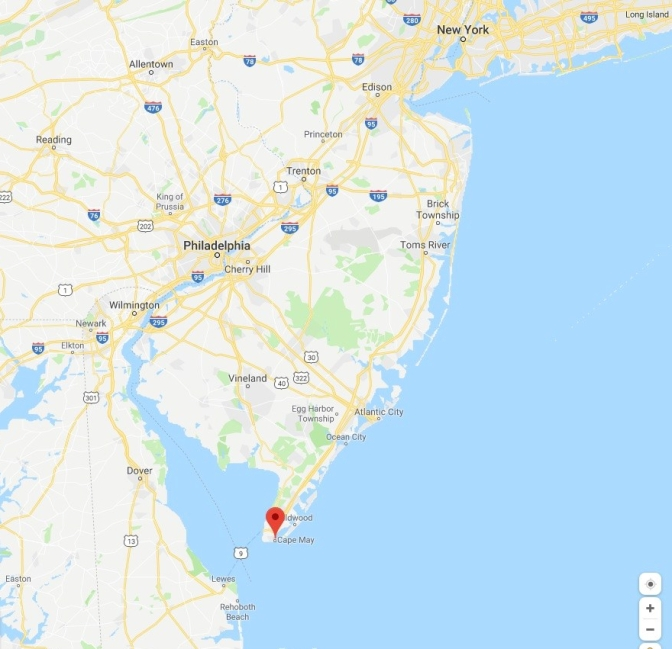 Map of New Jersey with a red pin in the location of Cape May.
