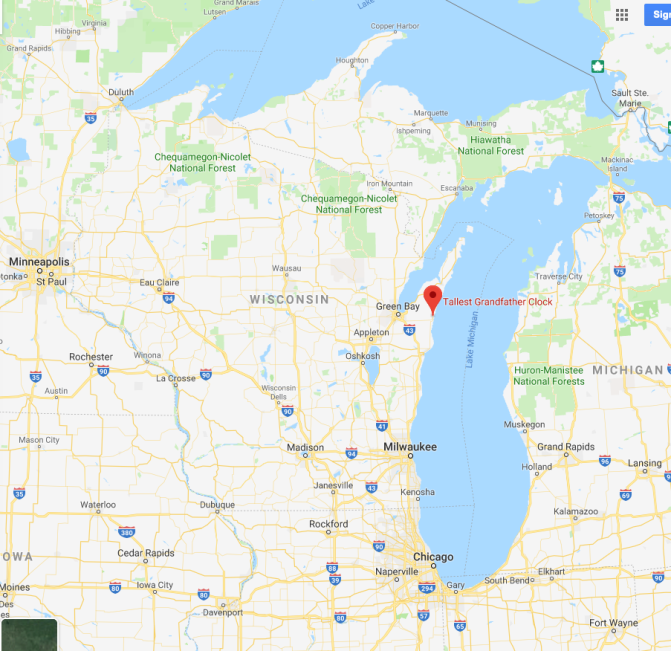 Map of Wisconsin with red pin in location of Tallest Grandfather Clock near Green Bay.