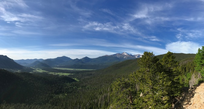 Panorama of forest and mountains.