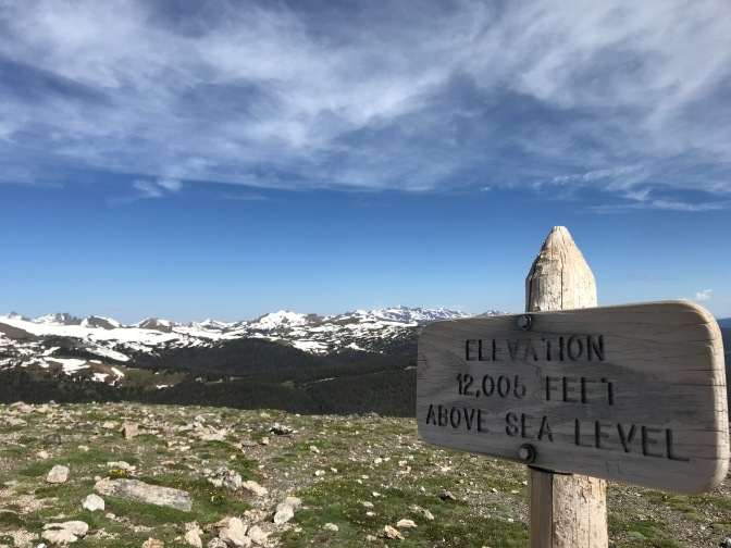 Wooden sign that says ELEVATION 12,005 FEET ABOVE SES LEVEL, with mountains in background.