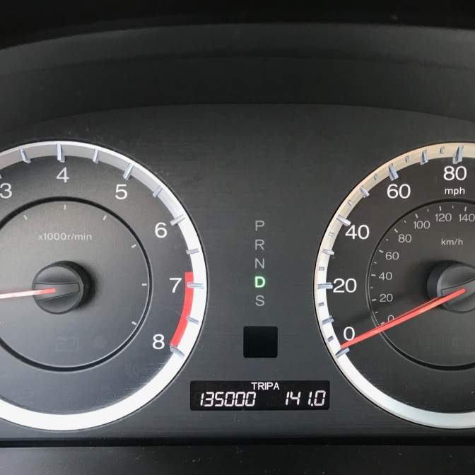 Car odometer reading 135000 TRIP A 141.0