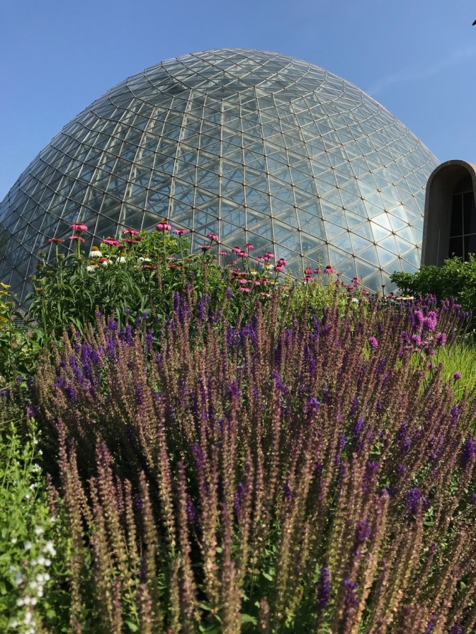 One of the domes, with flowers in the foreground, beneath a blue sky.