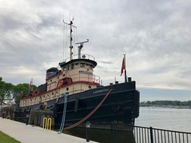 Tug boat Ludington tied at dock.
