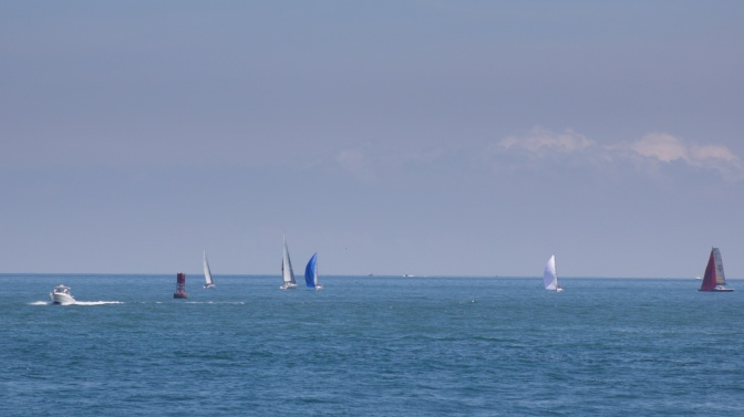 Sailboats on water in Atlantic Ocean.